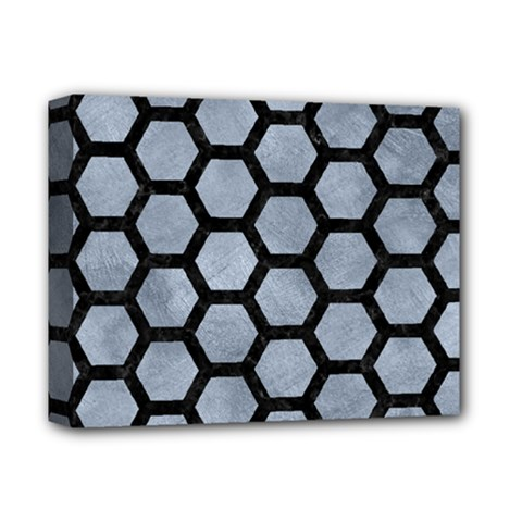 Hexagon2 Black Marble & Silver Paint Deluxe Canvas 14  X 11  by trendistuff