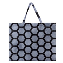 Hexagon2 Black Marble & Silver Paint Zipper Large Tote Bag by trendistuff