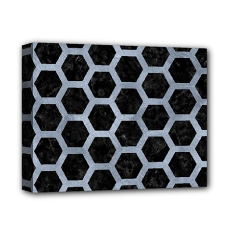 Hexagon2 Black Marble & Silver Paint (r) Deluxe Canvas 14  X 11  by trendistuff