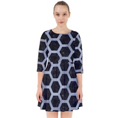 Hexagon2 Black Marble & Silver Paint (r) Smock Dress by trendistuff