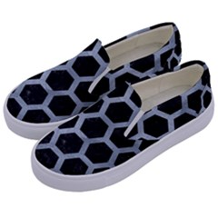 Hexagon2 Black Marble & Silver Paint (r) Kids  Canvas Slip Ons by trendistuff