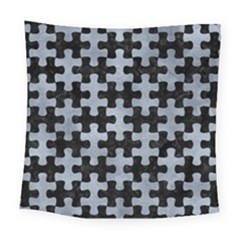 Puzzle1 Black Marble & Silver Paint Square Tapestry (large) by trendistuff