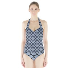 Scales1 Black Marble & Silver Paint Halter Swimsuit by trendistuff