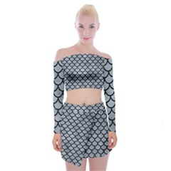 Scales1 Black Marble & Silver Paint Off Shoulder Top With Mini Skirt Set