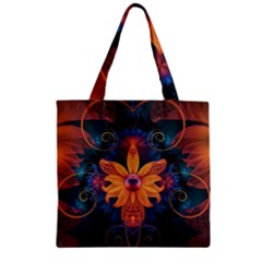 Beautiful Fiery Orange & Blue Fractal Orchid Flower Zipper Grocery Tote Bag by jayaprime