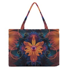 Beautiful Fiery Orange & Blue Fractal Orchid Flower Zipper Medium Tote Bag by jayaprime