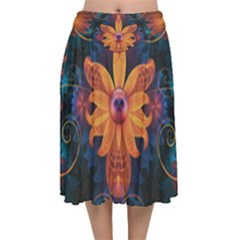 Beautiful Fiery Orange & Blue Fractal Orchid Flower Velvet Flared Midi Skirt by jayaprime