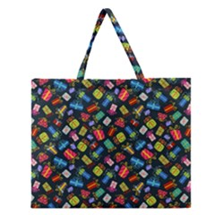 Christmas Pattern Zipper Large Tote Bag by tarastyle