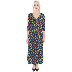 Christmas Pattern Quarter Sleeve Wrap Maxi Dress by tarastyle