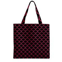 Scales1 Black Marble & Pink Denim (r) Zipper Grocery Tote Bag by trendistuff
