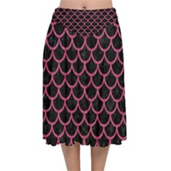 Scales1 Black Marble & Pink Denim (r) Velvet Flared Midi Skirt by trendistuff