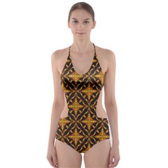 Christmas Pattern Cut Out One Piece Swimsuit by tarastyle