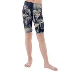 The Birth Of Christ Kids  Mid Length Swim Shorts by Valentinaart