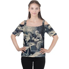 The Birth Of Christ Cutout Shoulder Tee by Valentinaart