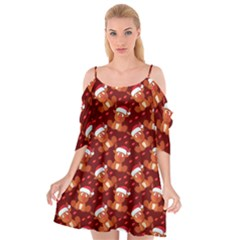 Christmas Pattern Cutout Spaghetti Strap Chiffon Dress