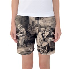 The Birth Of Christ Women s Basketball Shorts