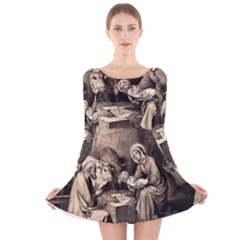 The Birth Of Christ Long Sleeve Velvet Skater Dress by Valentinaart