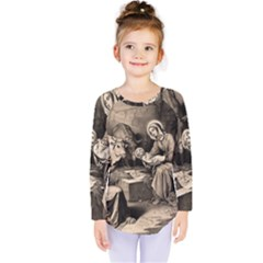 The Birth Of Christ Kids  Long Sleeve Tee by Valentinaart