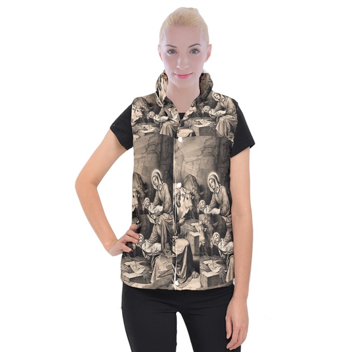 The birth of Christ Women s Button Up Puffer Vest