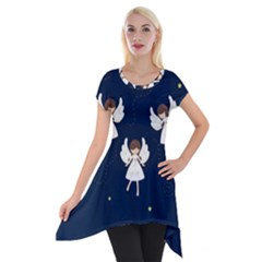 Christmas Angels  Short Sleeve Side Drop Tunic by Valentinaart