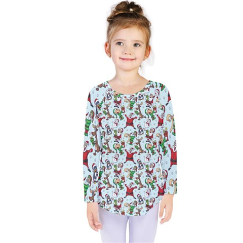 Christmas Pattern Kids  Long Sleeve Tee by tarastyle