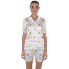 Happy Sun Motif Kids Seamless Pattern Satin Short Sleeve Pyjamas Set by dflcprintsclothing