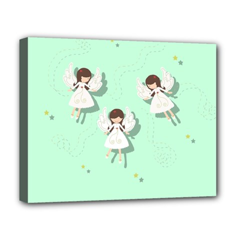 Christmas Angels  Deluxe Canvas 20  X 16   by Valentinaart