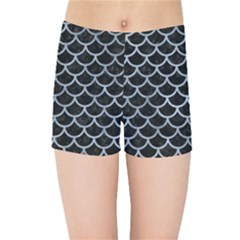 Scales1 Black Marble & Silver Paint (r) Kids Sports Shorts