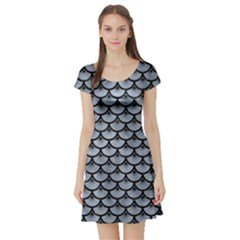 Scales3 Black Marble & Silver Paint Short Sleeve Skater Dress