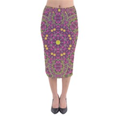 Butterflies  Roses In Gold Spreading Calm And Love Velvet Midi Pencil Skirt by pepitasart