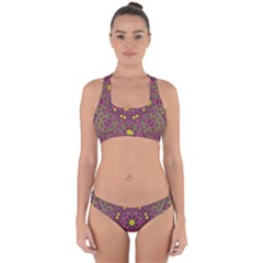 Butterflies  Roses In Gold Spreading Calm And Love Cross Back Hipster Bikini Set by pepitasart