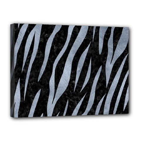 Skin3 Black Marble & Silver Paint (r) Canvas 16  X 12  by trendistuff