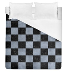 Square1 Black Marble & Silver Paint Duvet Cover (queen Size) by trendistuff