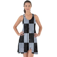 Square1 Black Marble & Silver Paint Show Some Back Chiffon Dress