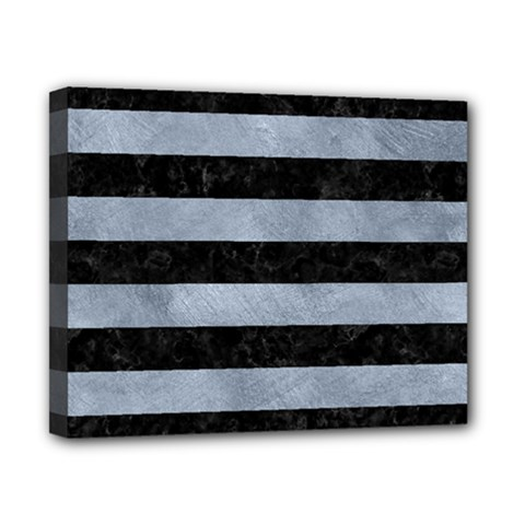 Stripes2 Black Marble & Silver Paint Canvas 10  X 8  by trendistuff