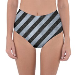 Stripes3 Black Marble & Silver Paint (r) Reversible High Waist Bikini Bottoms