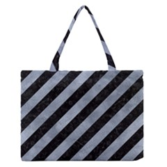 Stripes3 Black Marble & Silver Paint (r) Zipper Medium Tote Bag by trendistuff