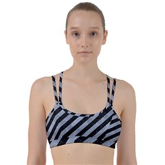Stripes3 Black Marble & Silver Paint (r) Line Them Up Sports Bra