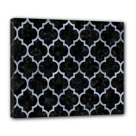 Tile1 Black Marble & Silver Paint (r) Deluxe Canvas 24  X 20   by trendistuff