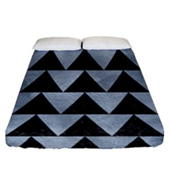Triangle2 Black Marble & Silver Paint Fitted Sheet (queen Size) by trendistuff