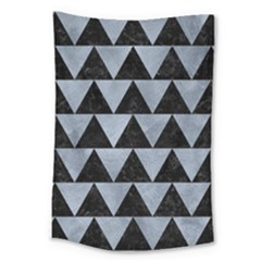 Triangle2 Black Marble & Silver Paint Large Tapestry by trendistuff