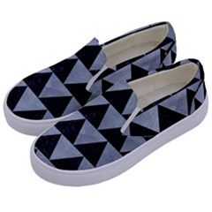 Triangle2 Black Marble & Silver Paint Kids  Canvas Slip Ons by trendistuff