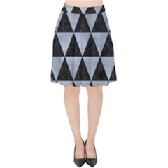 Triangle3 Black Marble & Silver Paint Velvet High Waist Skirt by trendistuff