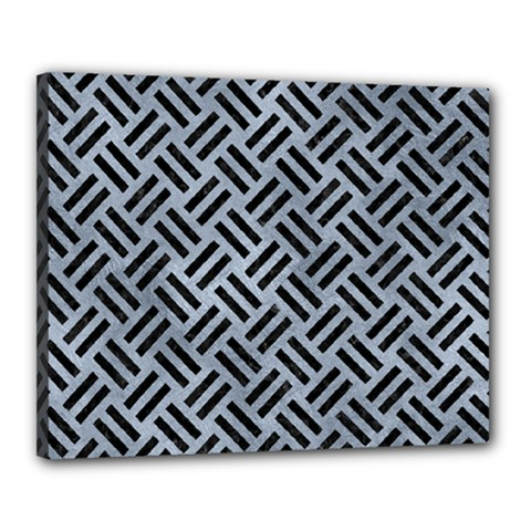 Woven2 Black Marble & Silver Paint Canvas 20  X 16