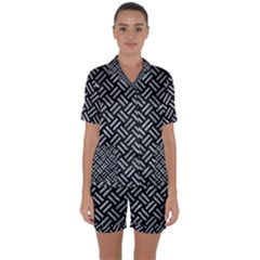 Woven2 Black Marble & Silver Paint (r) Satin Short Sleeve Pyjamas Set by trendistuff