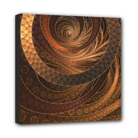 Brown, Bronze, Wicker, And Rattan Fractal Circles Mini Canvas 8  X 8  by jayaprime