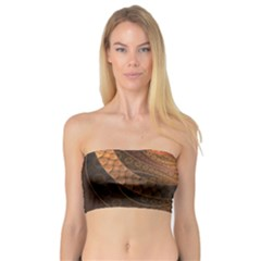 Brown, Bronze, Wicker, And Rattan Fractal Circles Bandeau Top by jayaprime