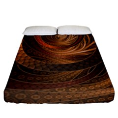 Brown, Bronze, Wicker, And Rattan Fractal Circles Fitted Sheet (california King Size) by jayaprime