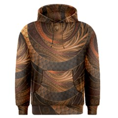 Brown, Bronze, Wicker, And Rattan Fractal Circles Men s Pullover Hoodie by jayaprime