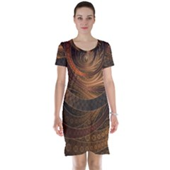 Brown, Bronze, Wicker, And Rattan Fractal Circles Short Sleeve Nightdress by jayaprime